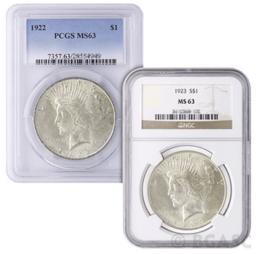 PCGS and NGC Peace Dollar MS-63