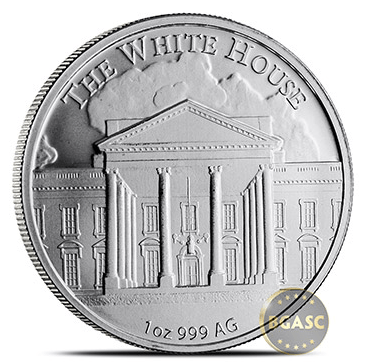 Trump silver round reverse- the white house