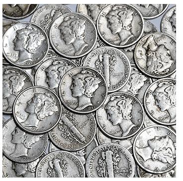 mercury dime pile