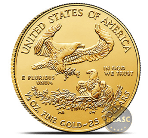 one half ounce American Gold Eagle back 2018