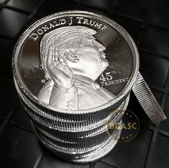 ten Donald Trump 2 oz silver rounds
