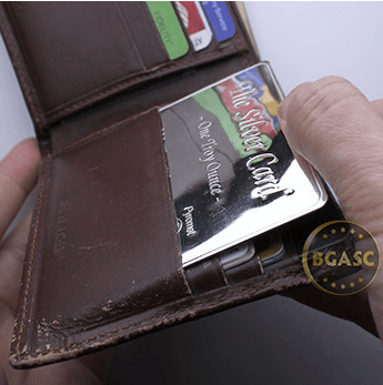 the silver card in the wallet bgasc