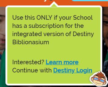 Biblionasium Destiny Integration - Login