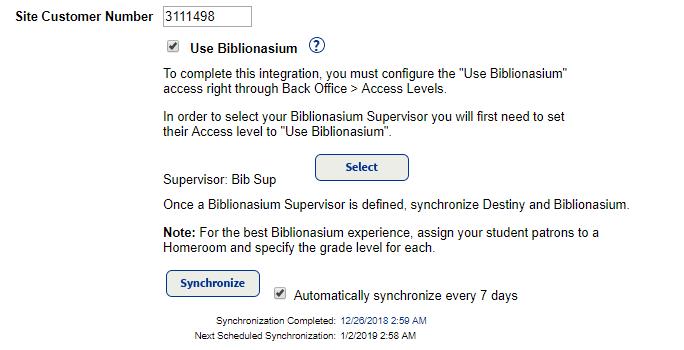 Biblionasium Destiny Integration - Site Configuration