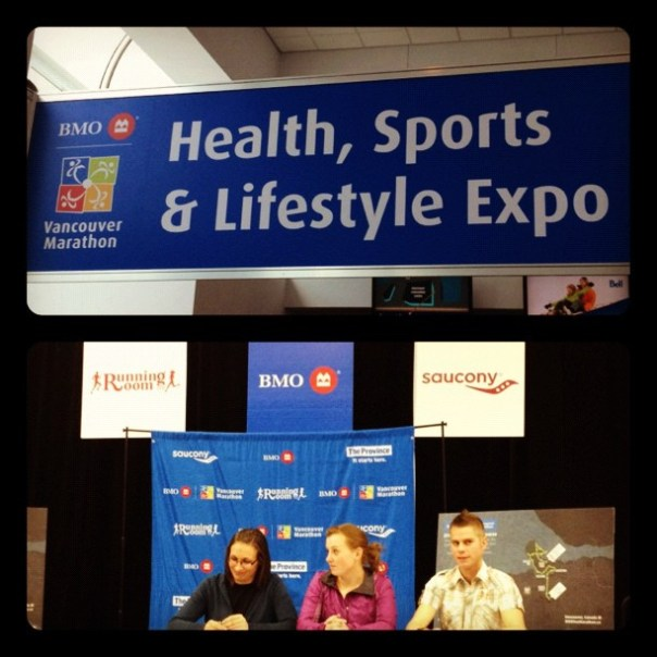BMO health, sports & lifestyle expo @BMOVanMarathon / #VanRun bloggers @br_webb on the stage. - from Instagram