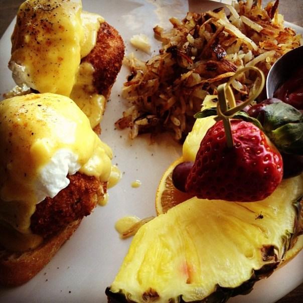 Crab & Scallop cake Benedict #Brunch - from Instagram