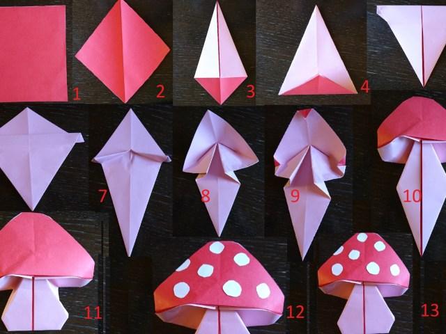 Autunno, lavoretti per bambini: un fungo di origami