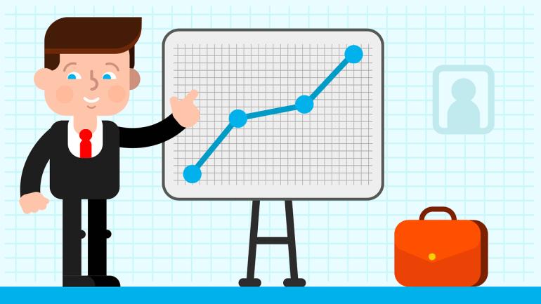 boneco empresário avaliando o retorno positivo da redução da sua taxa de churn e aumento da produtividade
