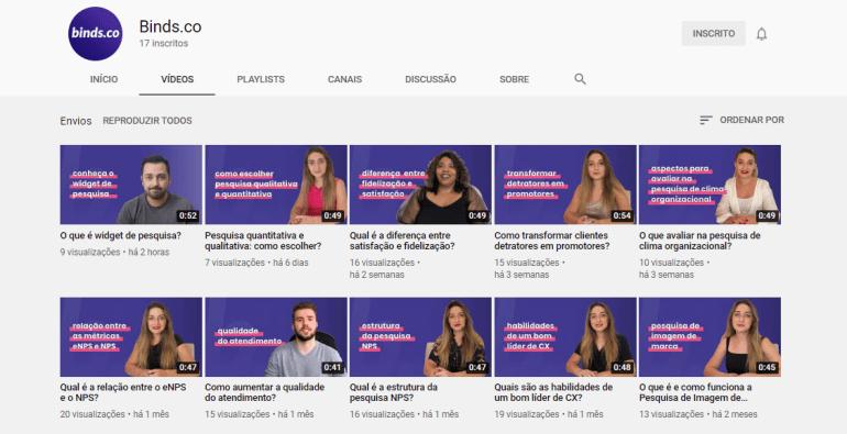 Canal do YouTube da binds.co
