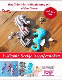 Kuscheltier Seepferdchen nähen: Schnittmuster Seepferdchen | binenstich.de