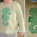 """Seepferdchen-Shirt, genäht von monasseifenkiste.blogspot.de nach der Vorlage aus dem binenstich-E-Book """"Seetje Seepferdchen""""   binenstich.de"""
