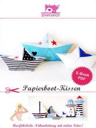 Anleitung Papierschiffchen nähen: Papierboot-Kissen ab sofort im Shop | binenstich.de
