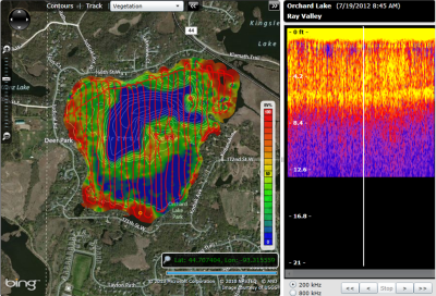 SAV, Aquatic Vegetation map, Lowrance HDS, Surface growing vegetation