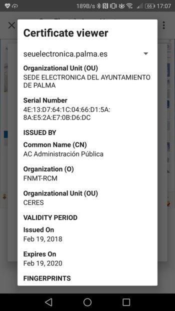 Finestra amb els detalls del certificat (Android)