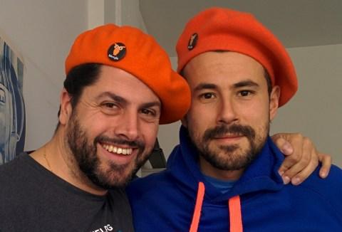 Luis and Manrique with the new Bitergia's Txapela (beret)