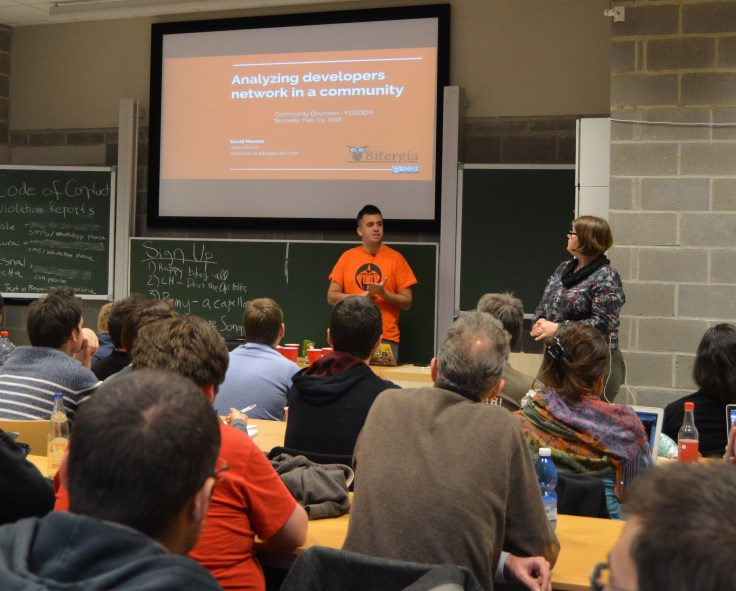 David Moreno about to start his talk on FOSDEM