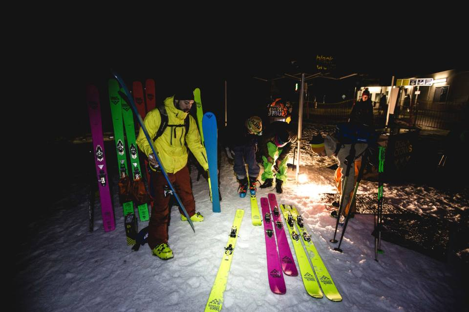 the noctouring society skis : corvus feebird, navis freebird, camox freebird, ova freebird, orb freebird Photo : Mark Von Roy /  Downdays