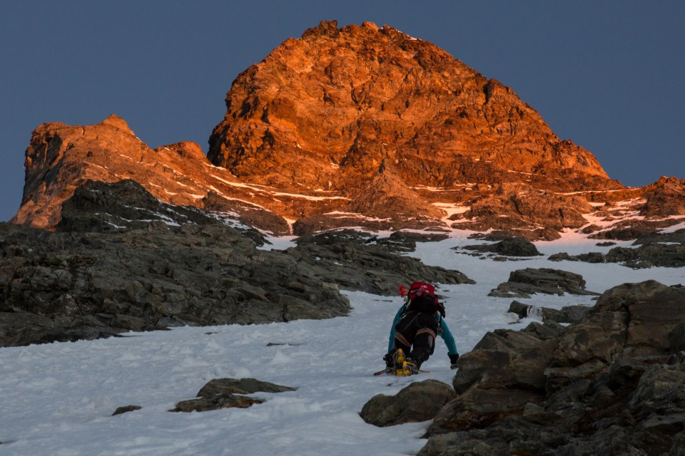 Morning alpenglow on the Matterhorn. Photo: Ross Hewitt