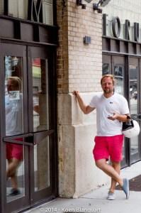 Belgian tour guide Patrick van Rosendaal in front of Film Forum, lower Manhattan, NYC