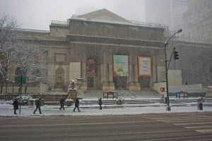 The New York Public Library on a snowy day in 2010 (image by Koen Blanquart)