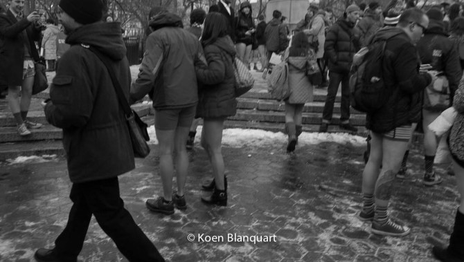 People gathering in Union Square after the No Pants Subway Ride 2015 on Union Square