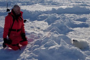 Nature Photographer Koen Blanquart, taking a break while taking pictures of Harp Seals in Canada.