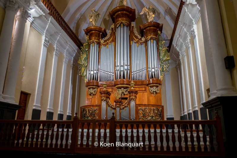 Organ in the Basilica Cathedral in Arequipa. The organ was donated by Belgium in 1870