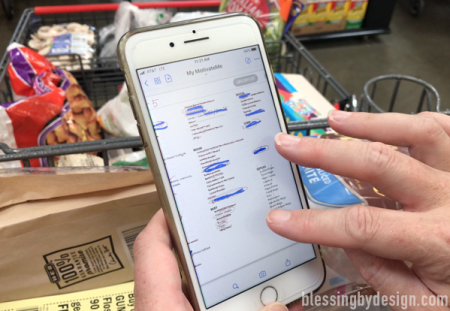 mark items off your digital planner grocery list