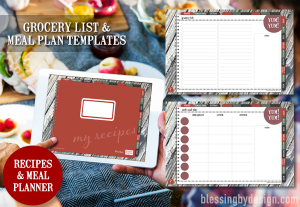 Meal grocery list digital planner templates