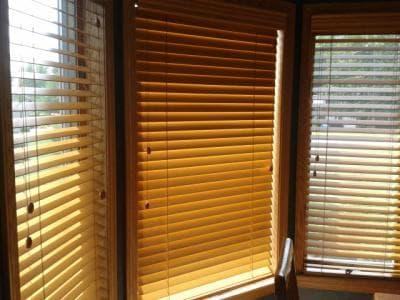 Custom 2 inch wood blinds bedroom