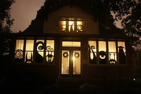 Monster window silhouettes