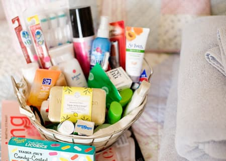 Guest room welcome basket