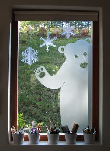 polar bear frosted window decal