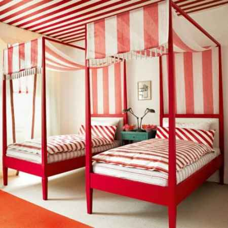 Candy Striped Red Bedroom