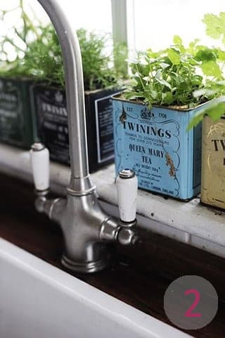 Create an herb garden with old tea tins