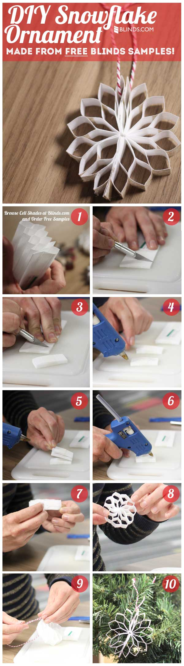 DIY Snowflake Ornament from Blinds Samples