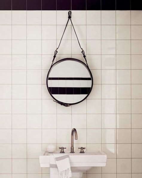 Leather Strap Bathroom Mirror