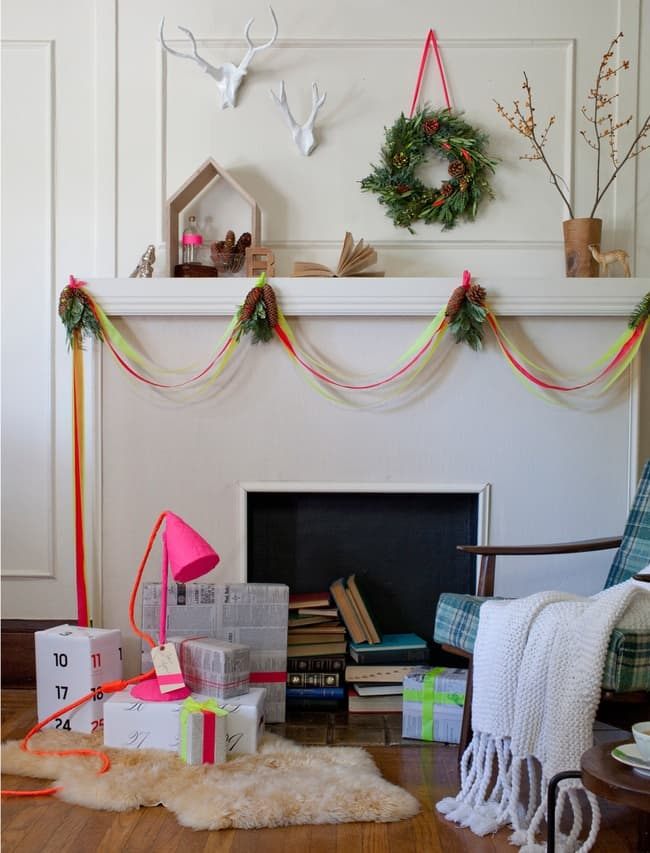 Neon Christmas mantle