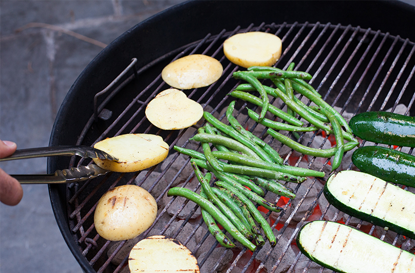 Grilling Potatoes and String Beans