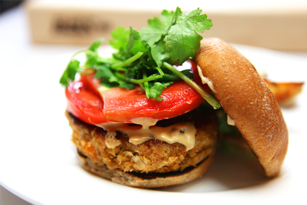 Thai Chicken Burgers with Hoisin Mayo and Potato Wedges