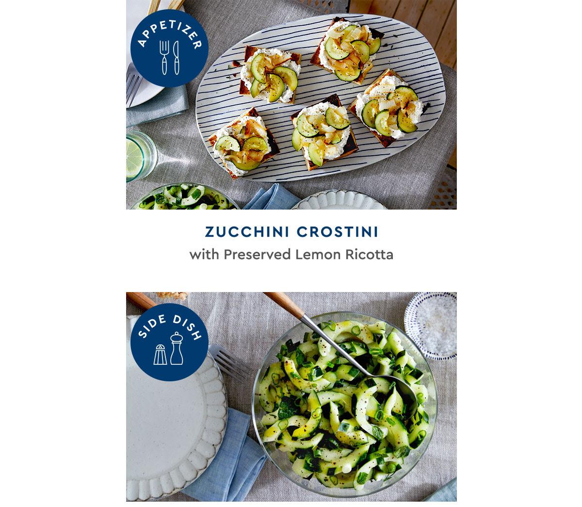 Zucchini crostini and cucumber salad