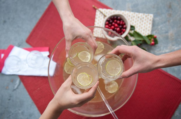Cheers Over A Ginger Gin Punch Bowl