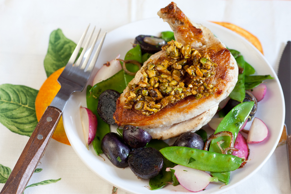 chicken with candied pistachio