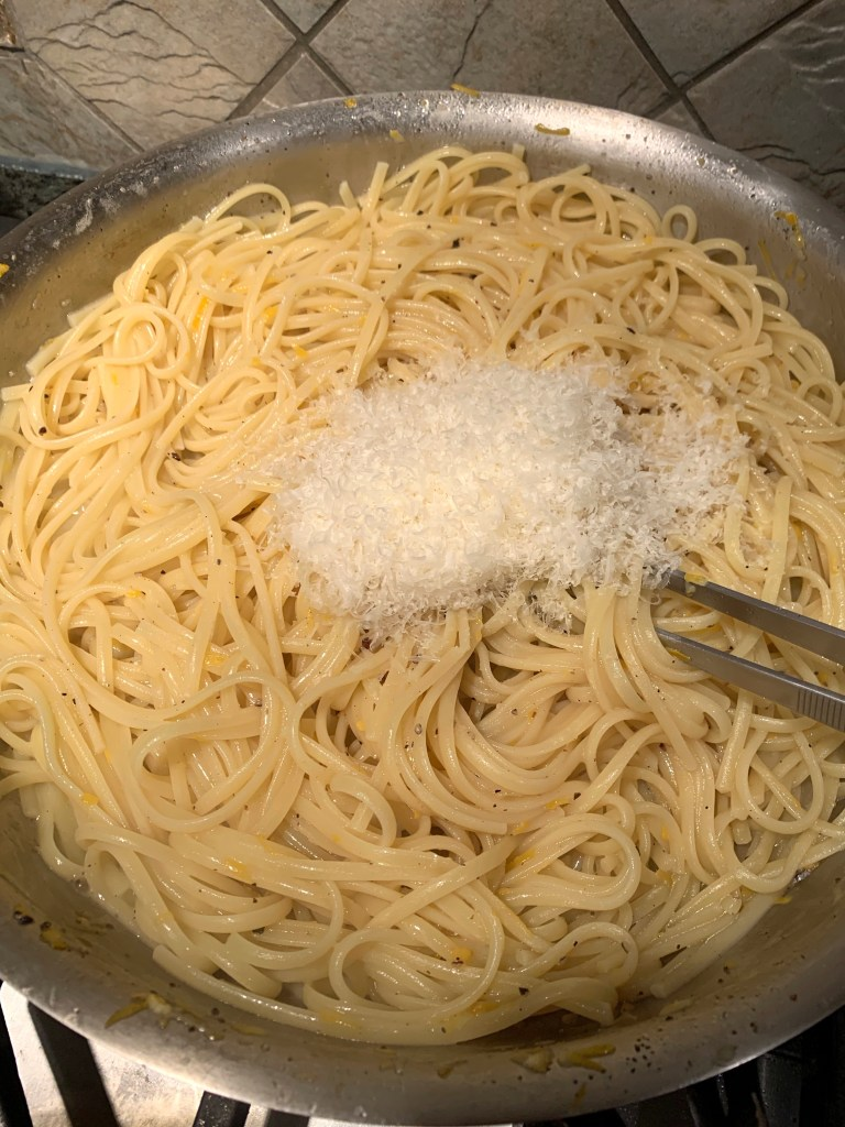 linguini in the pan with cheese