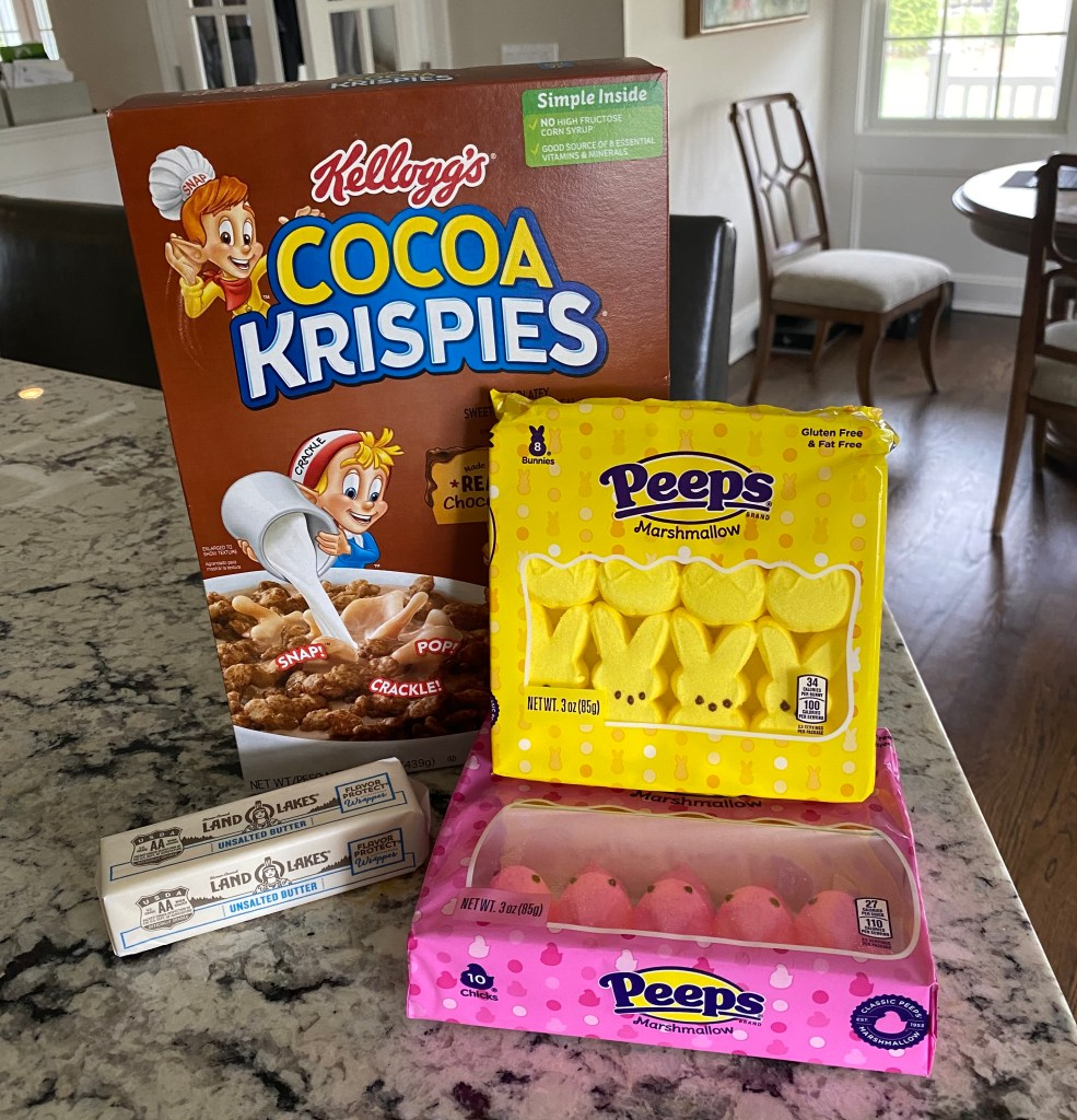 peeps, cocoa krispies, butter