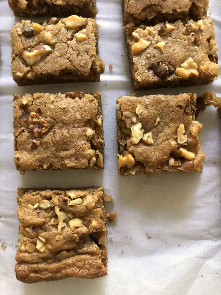 five ingredient blondies with nuts