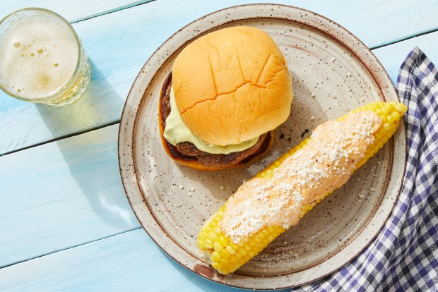 corn elote with a burger