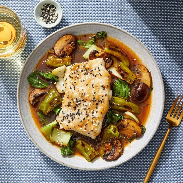 Baked Cod with Miso & Vegetables