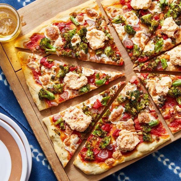 Broccoli & Mozzarella Pizza with Calabrian Chili Ricotta