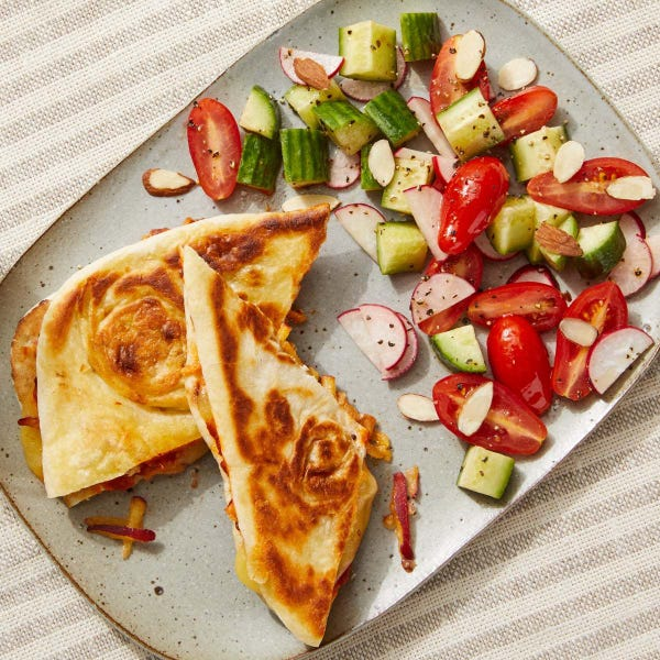 Naan Grilled Cheese with Tomato Chutney